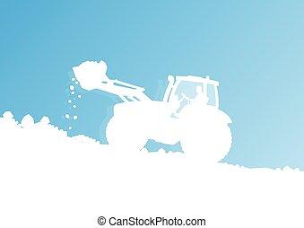 nettoyage, tracteur, déchargement, neige