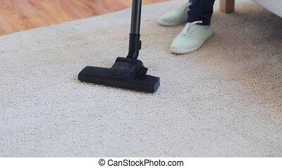 nettoyeur, femme, nettoyage, vide, maison, moquette