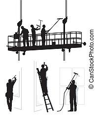 nettoyeurs, fenêtre, travail