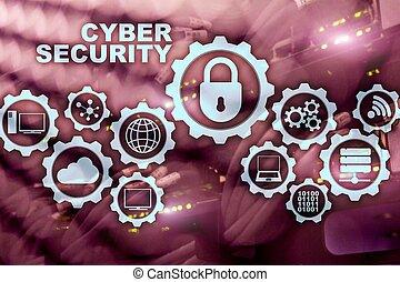 network., datacenter, concept, intimité, cyber, arrière-plan., protection, sécurité, données
