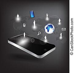 network., illustration., mobile, moderne, téléphone, vecteur, social, technologie