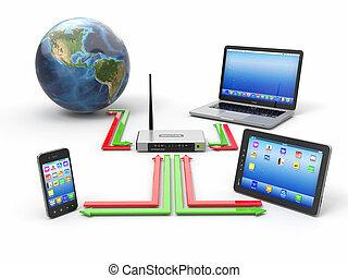 network., maison, concept, synchro, appareils