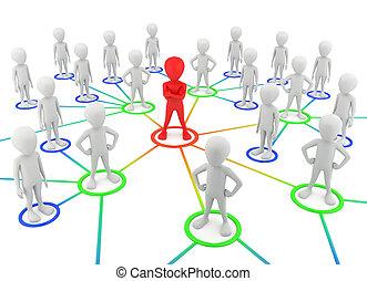 network., partenaires, gens, -, petit, 3d