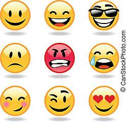 neuf, ensemble, smileys