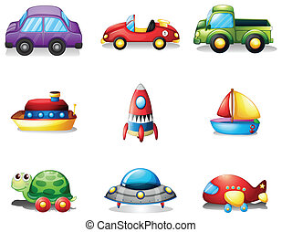 neuf, transportations, différent, espèce, jouet
