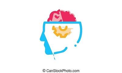 neurologie, médecine, icône, animation