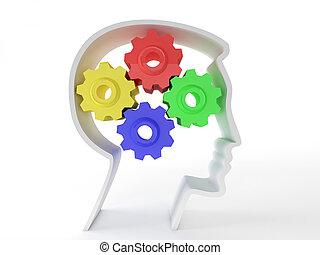 neurologique, symbole, tête, fonctionnement, représenté, santé, représenter, depression., engrenages, cerveau, malades, intelligence, mental, humain, fonction, forme