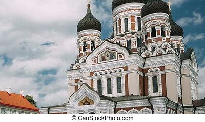 nevsky, site., destination, estonia., alexandre, célèbre, orthodoxe, mondiale, repère, cathedral., tallinn, populaire, scenic., héritage, unesco