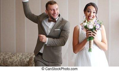 newlyweds., romantique, moments, couple, mariage, aimer, heureux