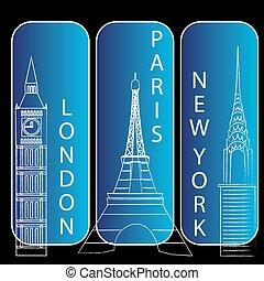 newyork, paris, londres
