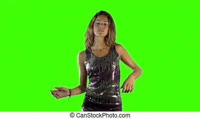 nex-fs100, robe, qualité, danse, élevé, écran, sexy, sony, femme, vert, disco, coup, sparkly