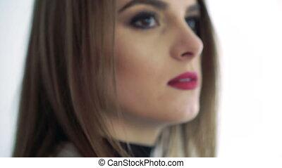 nez, lèvres, femme, homme, lentement, face., haut, toucher, rouges, fin