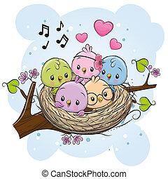 nid, oiseaux, branche, dessin animé