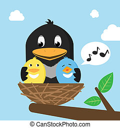 nid, oiseaux
