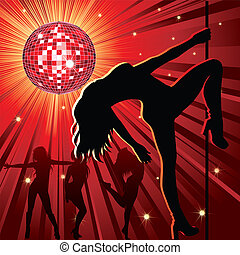 night-club, gens, danse
