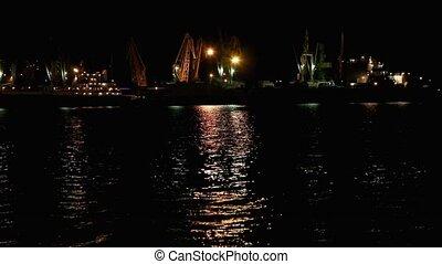 night., port, ukraine, odessa