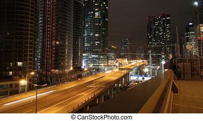 night., toronto, zoom-out., autoroute