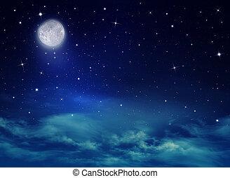 nightly, ciel, étoiles, lune