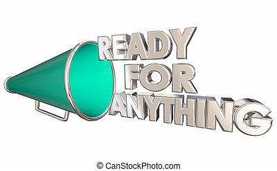 n'importe quoi, illustration, préparé, bullhorn, prêt, porte voix, 3d