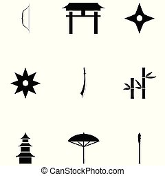 ninja, ensemble, icône