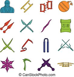 ninja, icônes, ensemble, outils, griffonnage