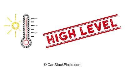 niveau, chaud, icône, élevé, collage, timbre, infectieux, grunge, temps, lignes