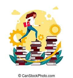 niveau compétence, concept., business, homme affaires, reussite, fait, gens, education, haut, aller, bibliothèque, développement, femme, personnel, vecteur, books., escalade, top., escalier