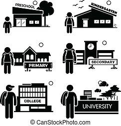 niveau, education, étudiant, icône