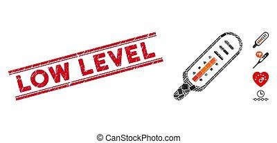 niveau, mosaïque, thermomètre, bas, cachet, détresse, lignes