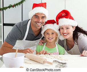 noël cookie, préparer, famille, heureux