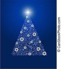 noël, décoré, arbre