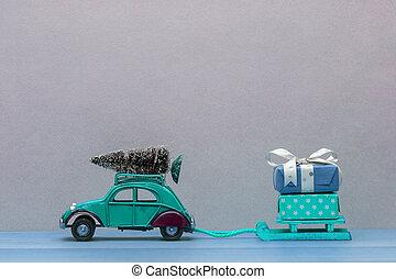 noël don, traîneaux, vert, sapin, voiture, jouet