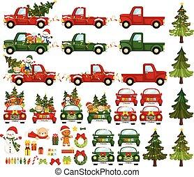 noël, ensemble, lotissements, vecteur, camion, coloré, mignon, articles, caractères