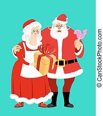 noël, femme, apron., cadeau, isolated., family., menage., claus, mrs., elderly., gai, santa, année, nouveau, blanc, coq, robe, sucette, rouges