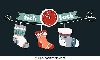 noël, fetes, chaussettes, célébration, tique, horloge, tock