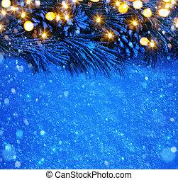noël, fond, art, neige, bleu