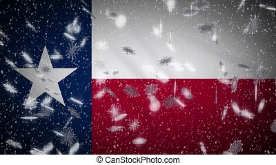 noël, fond, nouvel an, neige, drapeau, boucle, texas, tomber