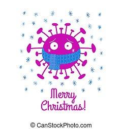 noël., isolé, illustration., arrière-plan., écharpe, coronavirus, dessin animé, vecteur, snowflakes., joyeux, bactérie, bleu, blanc, stockage