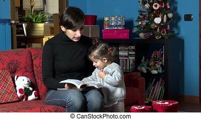 noël, livre, lecture, maman, enfant