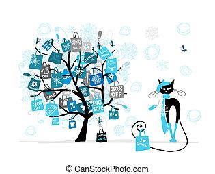 noël, mode, achats, arbre, vente, chat, sac, conception, ton