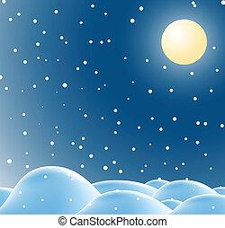noël, paysage hiver, nuit