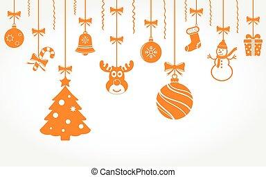 noël, pendre, arrière-plan., ornaments., vecteur