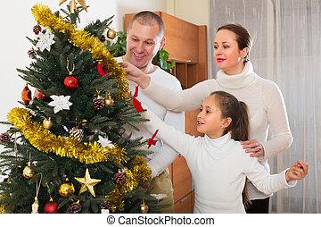 noël, préparer, famille, heureux