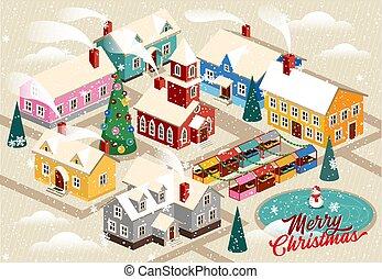noël, rue., banner., dessin animé, ville, church., fetes, carte, neigeux, heureux