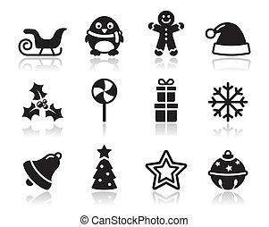 noël, s, noir, ombre, icônes