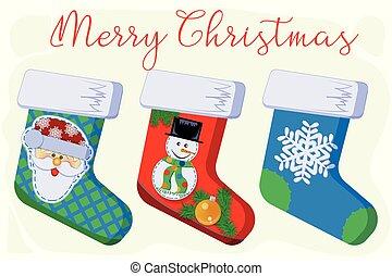 noël, santa, bonhomme de neige, flocon de neige, cadeau, chaussettes, claus
