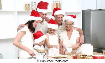 noël, sourire, cuisson, famille, gâteaux