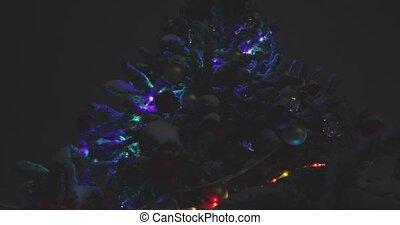 noël, sous, arbre, neige, nuit
