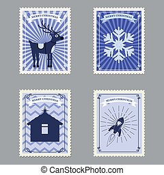 noël, timbres-poste, retro, vecteur, joyeux, snowflakes., illustration, ensemble, fusée, isolé, cerf
