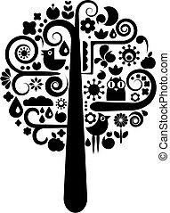 noir, écologique, arbre, blanc, icônes